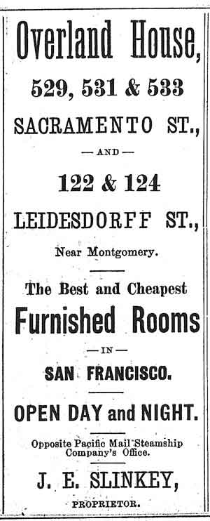 Overland House ad, 1874